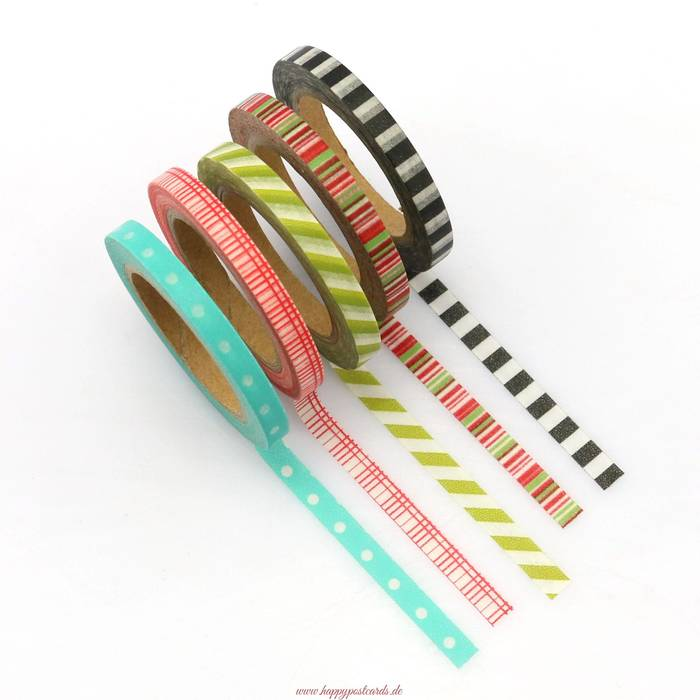 washi tape mix 5 d nne rollen washi tape masking tape happy postcards. Black Bedroom Furniture Sets. Home Design Ideas