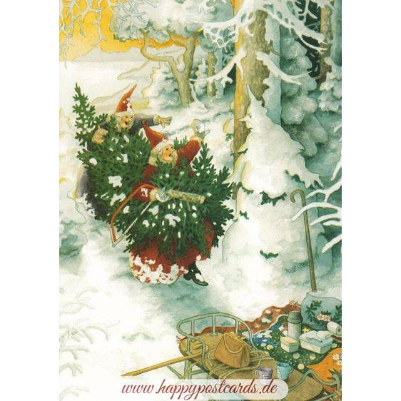 54 - Old Ladies with Christmastree and Snowghost - Postcard