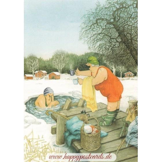 55 - Frauen baden im Eisloch - Löök Postkarte