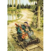 56 - Old Ladies driving a handcar - Postcard