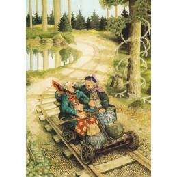 56 - Old Ladies driving a handcar - Postcard