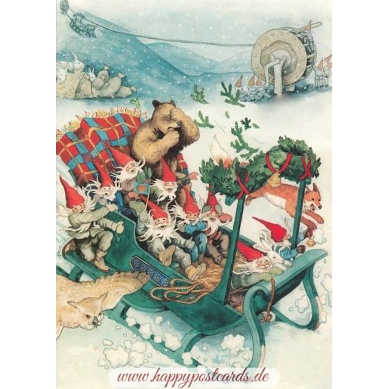 223 - Zwerge und Tiere im Schlitten - Löök Postkarte