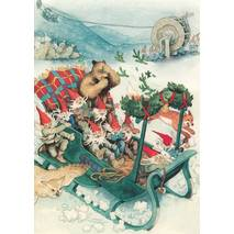 223 - Dwarfs with animals in a Sledge - Postcard
