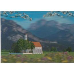 3D St. Coloman und Schloss Neuschwanstein - 3D Postkarte