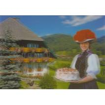 3D Black Forest with cake - 3D Postcard