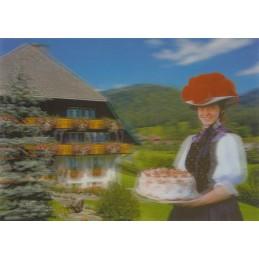 3D Schwarzwald mit Schwarwälder Kirschtorte - 3D Postkarte