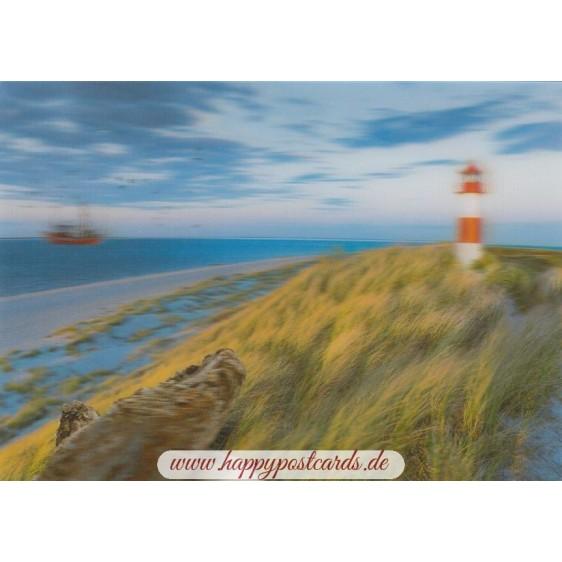3D Dunes with Lighthouse - 3D Postcard