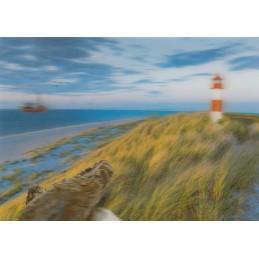 3D Dünen mit Leuchtturm - 3D Postkarte