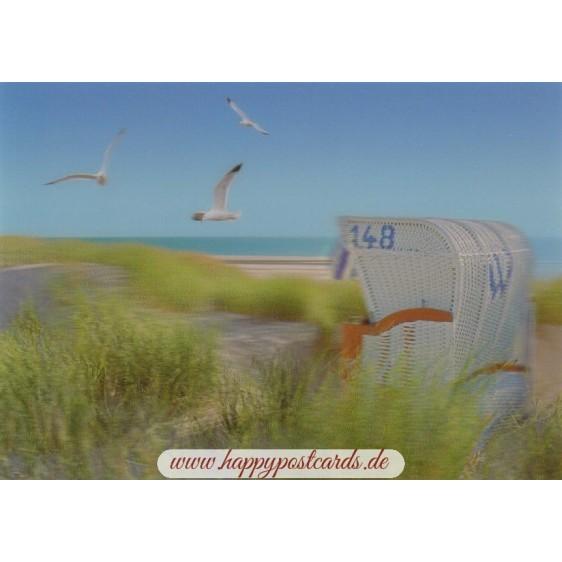 3D Strandkorb am Meer - 3D Postkarte