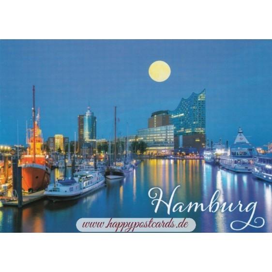 Hamburg Moonlight - Viewcard