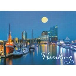Hamburg Mondschein - Ansichtskarte