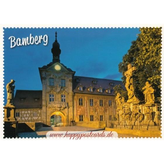 Bamberg - Townhall - Stampsborder  Viewcard