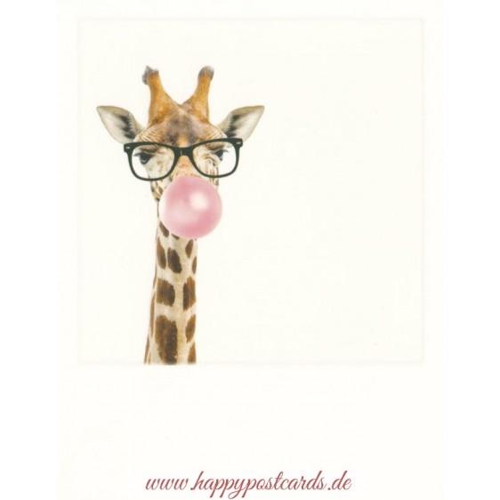Giraffe with bubblegum - PolaCard