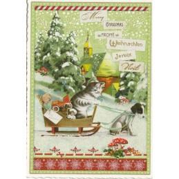 Merry Christmas - Cat in Sledge - Tausendschön - Postcard
