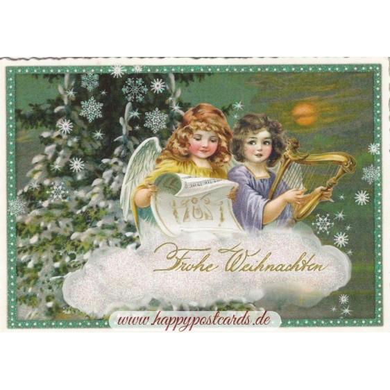Frohe Weihnachten - Engel mit Harfe - Tausendschön - Postkarte