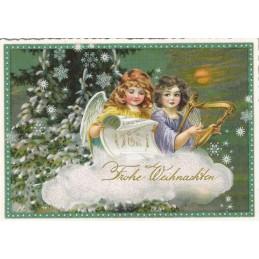 Frohe Weihnachten - Angels with harp - Tausendschön - Postcard