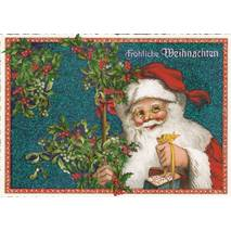 Santa Claus with Mistletoe - Tausendschön - Postcard