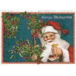 Weihnachtsmann mit Mistelzweig - Tausendschön - Weihnachtskarte