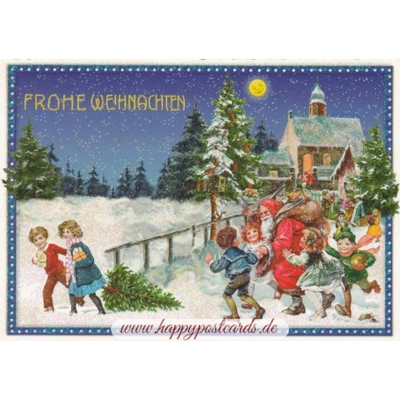 Santa Claus with Children - Tausendschön - Postcard