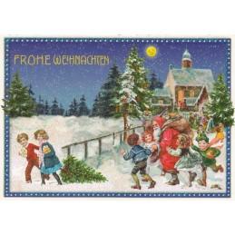 Weihnachtsmann mit Kindern - Tausendschön - Weihnachtskarte