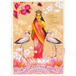 Alles Gute - Indische Göttin mit Flamingos - Tausendschön - Postkarte
