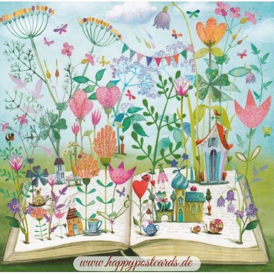 Buch mit Wiese - Mila Marquis Postkarte