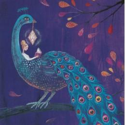 Lesende Frau mit Pfau - Mila Marquis Postkarte