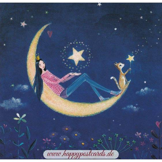 Woman with Moon - Mila Marquis Postcard