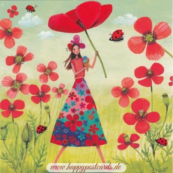 Frau mit Mohn - Mila Marquis Postkarte