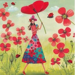 Woman with Poppy - Mila Marquis Postcard
