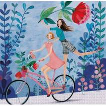 Two Women on a Bicycle - Mila Marquis Postcard