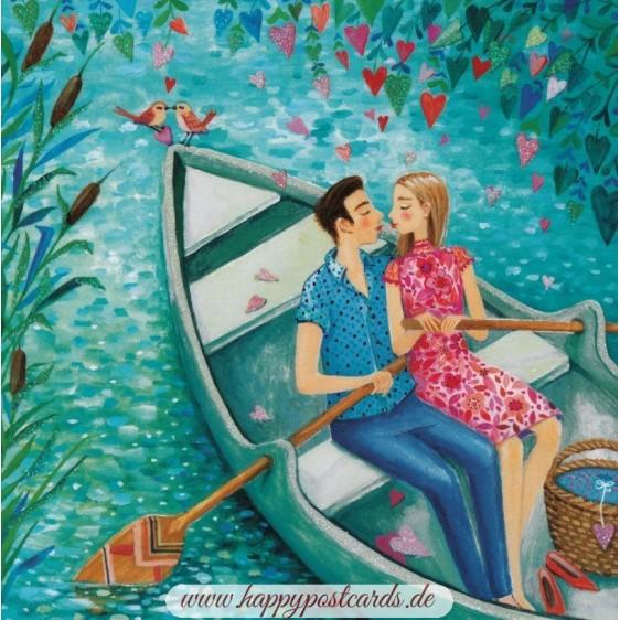 Liebespaar in einem Boot - Mila Marquis Postkarte