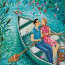 Lovecouple in a boat - Mila Marquis Postcard