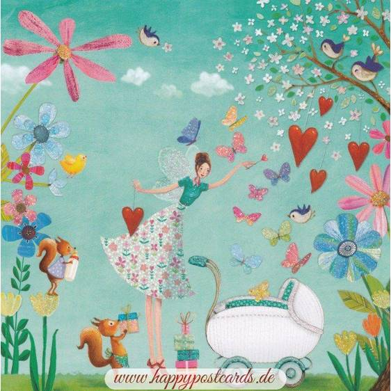 Baby buggy with fairy - Mila Marquis Postcard