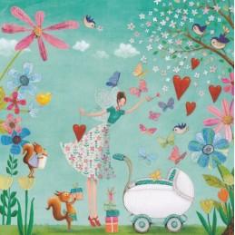 Babywagen mit Elfe - Mila Marquis Postkarte