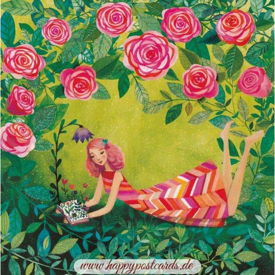 Girl with Roses - Mila Marquis Postcard