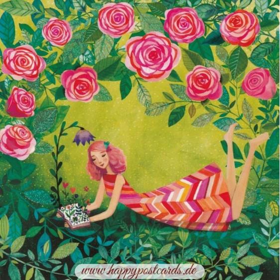 Mädchen mit Rosen - Mila Marquis Postkarte