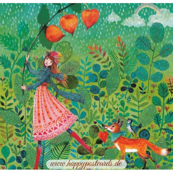 Woman in the Rain in autumn - Mila Marquis Postcard