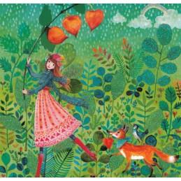 Frau im Herbstregen - Mila Marquis Postkarte
