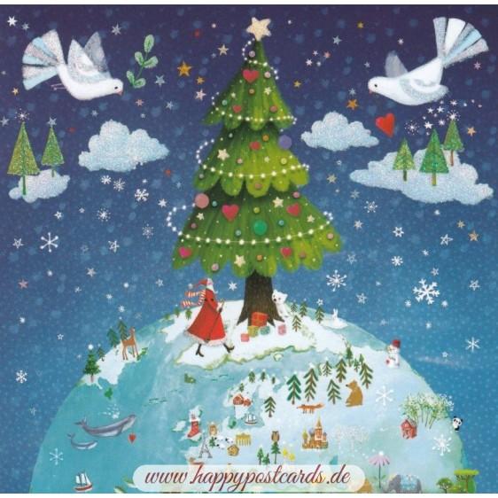 Globe with Christmas Tree - Mila Marquis Postcard