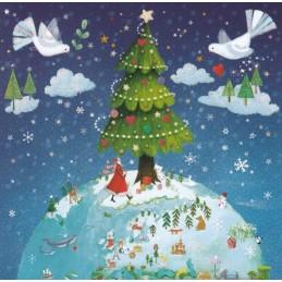 Weltkugel mit Tannenbaum - Mila Marquis Postkarte
