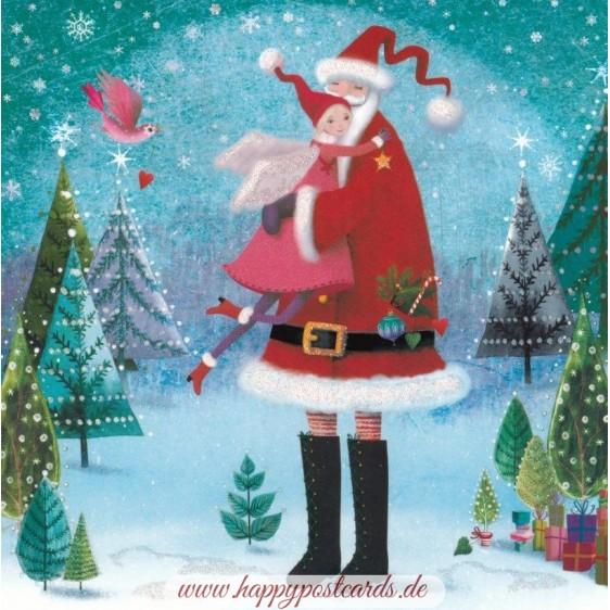 Weihnachtsmann mit Engel - Mila Marquis Postkarte