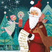 Santa Claus with wish list - Mila Marquis Postcard