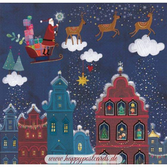 Santa Claus in a sledge over town - Mila Marquis Postcard