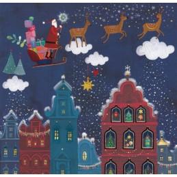 Nikolaus im Schlitten über der Stadt - Mila Marquis Postkarte