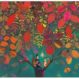 Frau sitzt lesend im Baum - Mila Marquis Postkarte