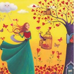 Frau mit Wolke und Herzbaum - Mila Marquis Postkarte