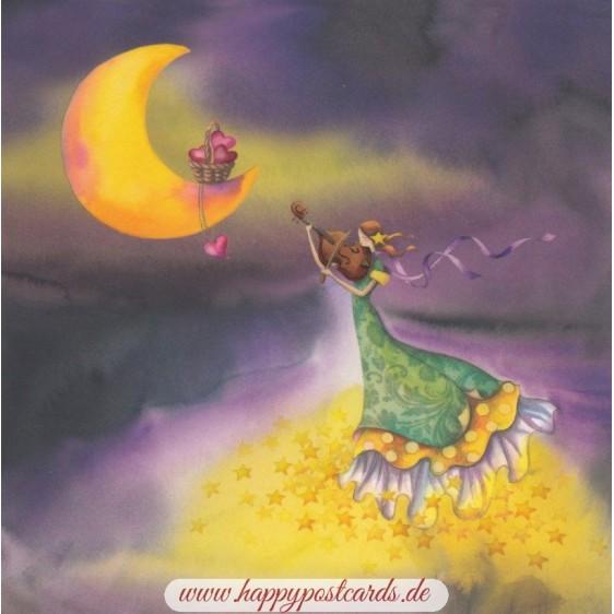 Frau mit Geige - Nina Chen Postkarte