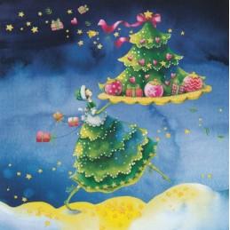 Frau mit Tannenbaum - Nina Chen Postkarte