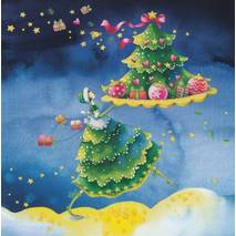 Woman with Christmastree - Nina Chen Postcard